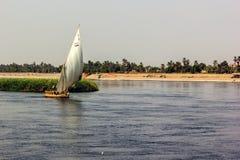 Nile boat shore Stock Image