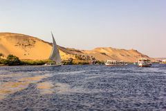 Nile boats and dune Stock Image