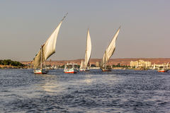 Nile with boats Royalty Free Stock Images