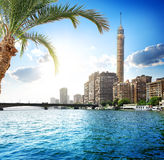 Nile in Cairo. Cairo TV tower on the bank of Nile stock images
