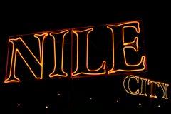 Nile city night light royalty free stock photo