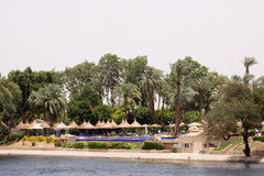 Nile cruise. Spectacular view of the bank of the river nile in egypt Stock Photos