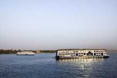Nile cruise. Along the banks of the nile river in egypt stock photo