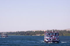 Nile cruise. A passenger boat during the cruise of the nile in egypt stock photos
