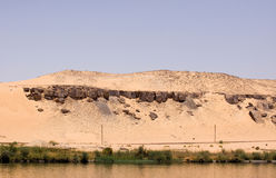 Nile cruise. Spectacular view of the bank of the river nile in egypt Royalty Free Stock Image