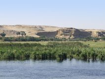 Nile between Edfu and Kom Ombo. Waterside Nile scenery between Edfu and Kom Ombo in Egypt Stock Images