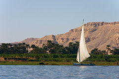Nile Felucca. The Egyptian sailing vessel on the river Royalty Free Stock Photography