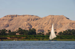 Nile Felucca. The Egyptian sailing vessel on the river nile Stock Photography