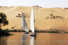 Nile felucca. Feluccas sailing on Nile river, Egypt royalty free stock photo