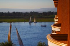Nile Luxor Balcony Royalty Free Stock Photography