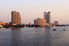 Sunset in Cairo on the Nile river Stock Photos