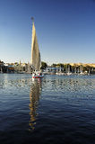 Nile River. At Aswan with Faluka Royalty Free Stock Photo