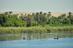 Nile river. Fishing boats on Nile river in Egypt stock photos