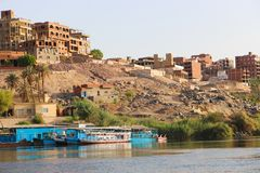 Nile River Africa. Beautiful nature of Nile River at Aswan, Egypt Royalty Free Stock Images