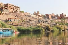 Nile River Africa. Beautiful nature of Nile River at Aswan, Egypt Stock Photography