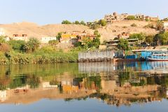 Nile River Africa. Beautiful nature of Nile River at Aswan, Egypt Royalty Free Stock Photography