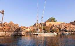 Nile River Africa. Beautiful nature of Nile River at Aswan, Egypt Royalty Free Stock Image