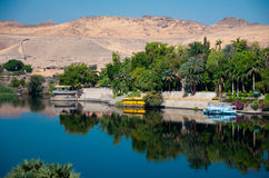 Nile River, Assouan. Water reflection, Nile River, Egypt near the city of Aswan where most Nile cruises begin Royalty Free Stock Images