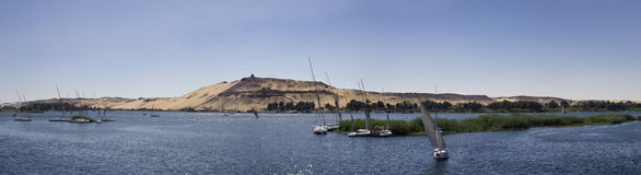 Nile River ,Aswan. Panoramic of the West banks of the Nile River from Aswan stock image
