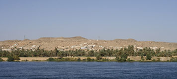 Nile River ,Aswan. West banks of the Nile River from Aswan stock photo