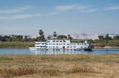Nile river boat cruising through Luxor Royalty Free Stock Images