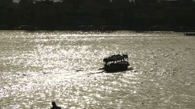 The Nile river with boat Egypt. Egypt Nile rive silhouette of boart stock video