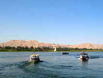 Nile river with boats in Egypt Royalty Free Stock Photography