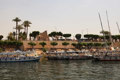 Nile river. Boats in the Nile River, Egypt Stock Photography