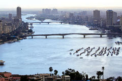 Nile River Cairo. Aerial cityscape of Nile River in Cairo Stock Photos