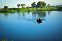 Nile river fishers. On the boat Stock Image