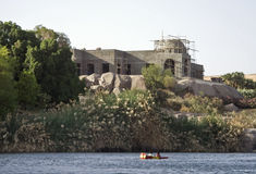 Nile River house,Aswan stock photos