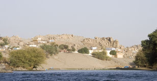 Nile River houses,Aswan Stock Photo