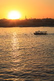 Nile river landscape at sunset Stock Image