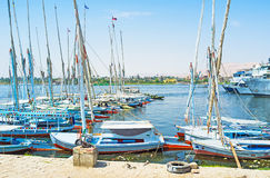 The Nile river. LUXOR, EGYPT - OCTOBER 8, 2014: The best way to discover Nile river is to take a motor boat or felucca, on October 8 in Luxor, Egypt Stock Photo