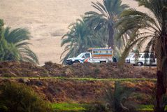 Nile River, near Luxor, Egypt, February 21, 2017: All-terrain truck painted in bright colors circulating along the Luxor Highway o. N the banks of the Nile River Stock Image