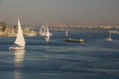Nile River på Aswan, Egypten Royaltyfri Fotografi