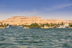 Nile river scenery near Luxor. Egypt Stock Photos
