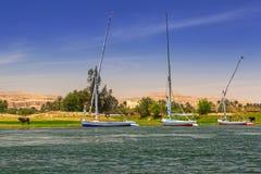 Nile river scenery near Luxor. Egypt Stock Photography