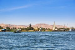 Nile river scenery near Luxor. Egypt Royalty Free Stock Images