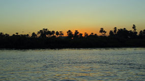 Nile river at sunset Stock Image