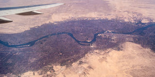 Nile River Valley da un aeroplano Fotografia Stock Libera da Diritti