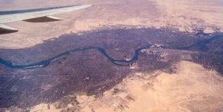 Nile River Valley von einem Flugzeug Lizenzfreies Stockfoto