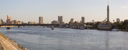 Nile river and Zamalek island. Cairo, Egypt - March 4, 2016: The Nile river, the Island of Zamalek and central Cairo skyline Stock Photo