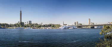 Nile Riverfront at Cairo, Egypt Panorama Royalty Free Stock Images