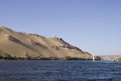 Nile Rivers ,dunes and tombs,Aswan. Nile River and sand dunes Royalty Free Stock Images