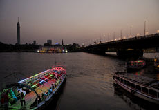 Nile riverside with boats cairo egypt Royalty Free Stock Photo