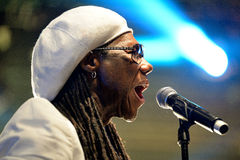 Nile Rodgers, famous producer of David Bowie, Duran Duran, Madonna, and more recently, French house duo Daft Punk, performs at Son. BARCELONA - JUN 14: Nile Royalty Free Stock Images