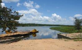 Nile scenery in Uganda. Nile scenery with ferry pier in Uganda (Africa Stock Photography