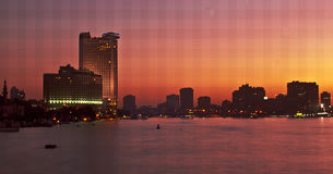 Nile Skyline in Cairo. Egypt, North Africa. During Sunset Stock Photography