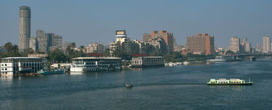 The Nile veiw in Cairo, 6 October Bridge. The Nile River in the city center view, Cairo, Egypt, 6 October Bridge, Zamalek island view Royalty Free Stock Image
